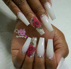 Ballerina Nails. White Nails. 3D Nail Art. Acrylic Nails. Nails With Rhinestones.