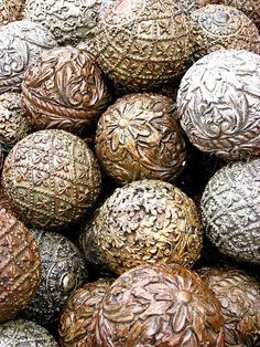 old metal balls of gold and silver texture tangle inspiration -- j Free To Use Images, Earth Tones, Textures Patterns, Old World, Metal Art, Metal Working, Christmas Decorations, Tree Decorations, Decoupage