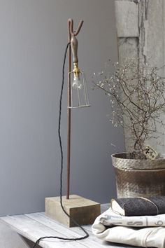 lamp industrial eclectic vintage, open exposed bulb, wire brass cage, wood base, desk lamp, lighting ideas for the house