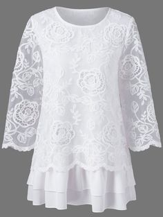 Floral lace layered longline blouse The renowned fashion retailer offers a . - Floral lace layered longline blouse The renowned fashion retailer offers a large selection of women - Fashion Sale, Fashion Outfits, Womens Fashion, Fashion Clothes, Fashion Fashion, White Lace Blouse, T Shirts For Women, Clothes For Women, Lace Tops