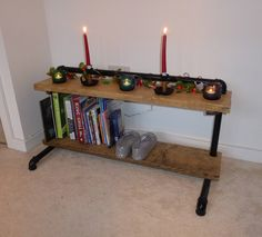 Our Tehdas shelving with some Christmasy candles #etsy shop: Tehdas - Industrial Style Low Shelves/Shoe Rack http://etsy.me/2jc4fMx #furniture #storage #wood #black #metal #shelves #display #recycled #pipework