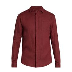 Giorgio Armani Single-cuff linen shirt ($260) ❤ liked on Polyvore featuring men's fashion, men's clothing, men's shirts, men's dress shirts, red, mens linen shirts, men's curved hem t shirt, mens linen dress shirts, mens red shirt and men's regular fit shirts