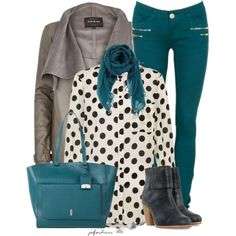 Black, White, Grey, & Teal, created by jafashions on Polyvore