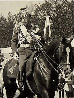 Nicholas II on horseback.