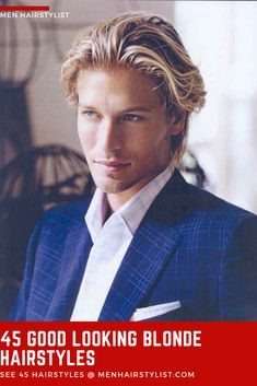 This is a very elegant and trending variation of the slick back hairstyle. You just have to let your hair grow to a medium length and apply some hair products to your sides for this amazing look. Men Blonde Hair, Medium Blonde Hair, Blonde Guys, Short Blonde, Men Hair, Blonde Male Models, Blonde Model, Middle Part Hairstyles Men, Medium Hair Styles