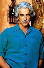 I don't care for his deeply nasal, pompously affected voice at all. But I do like looking at him with his mouth shut! (Sam Elliot)