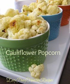 Cauliflower Popcorn--A healthy and yummy snack that is very addictive!  Kids love it too!  EasyPeasyHealthyRecipes.com