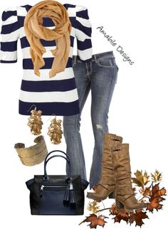 """""""Navy & Tan Casual"""" by amabiledesigns on Polyvore"""