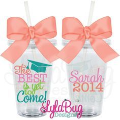 Personalize travel cups and water bottles for your favorite grads.