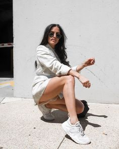 Who says sneakers can't have style? From joggers to slip ons to platforms, we've got trending shoes that are sporty and sweet. Chunky Sneakers, White Sneakers, Military Fashion, Mens Fashion, Tuxedo Jacket, New Look, Nice Dresses, High Tops, Joggers