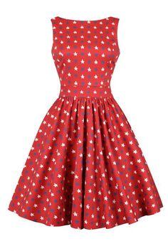 Červené šaty s hvězdami Lady V London Tea Cute Bows, Vintage Glamour, Lady V, Fitted Bodice, Superstar, Feminine, Blue And White, Summer Dresses, Red Background