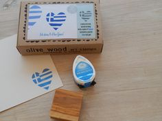 I Love Greece Boxed Greece Inspired Stamp and by ahueofduckeggblue