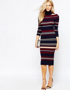 Mega fede Oasis Stripe Column Dress - Navy Oasis Kjoler til Damer i lækker kvalitet