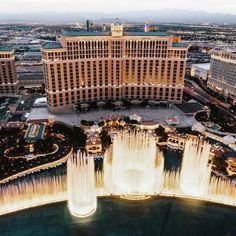 An aerial view of Bellagio and the iconic fountains at dusk is a rare experience.