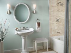 "English Country Bathroom Design Idea - ""wythe blue"" walls with white pedestal sink."