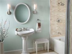 "English Country Bathroom Design Idea - ""wythe blue"" walls with white pedestal sink."