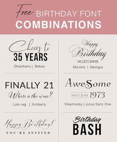Birthday Font Pairings Thanksgiving Fonts, Christmas Fonts, Sign Fonts, Invitation Fonts, Free Typeface, Font Free, Fall Fonts, Graphics Vintage, Vintage Fonts