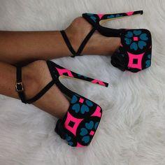 Shoespie Color Block Platform Sandals