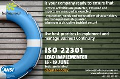 Mastering the implementation and management of a Business Continuity Management System (BCMS) based on ISO 22301.
