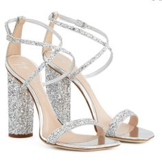Prom Shoes Silver, Silver Glitter Heels, Silver Sandals, Glitter Shoes, Silver Formal Shoes, Glitter Outfit, Glitter Fashion, Glitter Face, Glitter Dress
