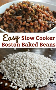 Easy Slow Cooker Recipes - Slow Cooked Boston Baked Beans - One Hundred Dollars a Month Baked Beans Crock Pot, Slow Cooker Baked Beans, Beans In Crockpot, Homemade Baked Beans, Baked Bean Recipes, Slow Cooker Recipes, Crockpot Recipes, Beans Recipes, Crock Pots