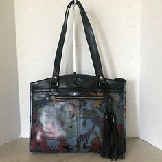 Patricia Nash Poppy Tote Blue Forest Leather   | eBay Blue Forest, Patricia Nash, Italian Leather, Tartan, Poppy, Leather Wallet, Purses, Tote Bag, Bags