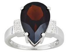 5.68ct Pear Shape Vermelho Garnet And Round White Topaz Accent Sterling Silver Ring