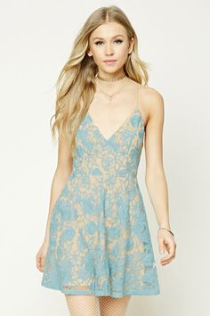 Embroidered Floral Lace Dress