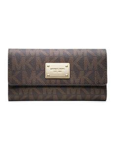Someone give me this for Christmas... MICHAEL Michael Kors  Jet Set Logo Checkbook Wallet.