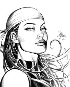 Elektra by Mike Deodato Jr {Now tell me she doesn't look like Angelina Jolie.............I believe that this came out BEFORE she became famous...........She woulld be a Perfect Electra !!!}