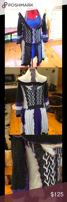 Cozy Celtic, upcyclyed sweater pixie type coat. Cozy Celtic, upcyclyed sweater pixie type coat.  Size: medium/large  Color: purple, silver, grey and black. The silver sparkles.  Almost brand new worn maybe three times. Not a heavy sweater coat, more medium weight. Smoke free, cat and parrot populated home. Sweaters
