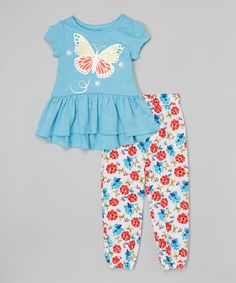Look what I found on #zulily! Blue Butterfly Tee & Floral Sweatpants - Infant, Toddler & Girls #zulilyfinds