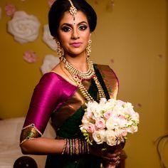 South Indian bride. Gold Indian bridal jewelry.Temple jewelry. Jhumkis.Green and pink silk kanchipuram sari.Braid with fresh jasmine flowers. Tamil bride. Telugu bride. Kannada bride. Hindu bride. Malayalee bride.Kerala bride.South Indian wedding. Pinterest: @deepa8