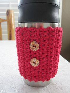 Crochet Coffee Cozy Sleeve With Buttons by iggychocs on Etsy, $4.00
