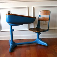 Vintage Salmon Elementary School Desk Storage And Chair. Wood. Tangerine Tango…