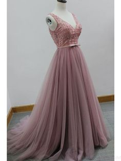 V-neck Pink Beading Long Tulle  Prom Dresses  Evening Dresses  #promdresses#SIMIBridal
