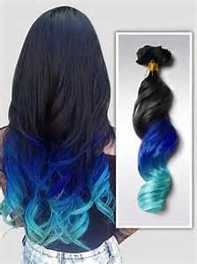 Blue Green Ombre Weft Hair Extensions For by GoldCoutureHair