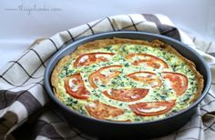 Tomato Bacon  Spinach Quiche : I didn't like the onion in it because of the unexpected crunch. Next time, I will saute the onion first or leave it out altogether