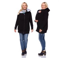 Viva la Mama | Baby Carrying Jacket YONAS (3in1- black/grey). Hoody for pregnancy, maternity, baby wearing and everyday use. The baby will be saved and warm in this beautiful baby wearing jacket. A perfect present for birth or baby shower. With its long cut and the cuddly bamboo-cotton-fabric also mommy will not be cold.