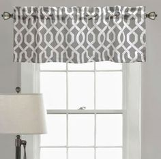 Lush Decor Edward Trellis Valance In Grey - Bring chic sophistication to your window with the Lush Decor Edward Trellis Valance. Boasting a white trellis design on a grey ground, this unique valance is a stylish addition to your bedroom or living room. Blackout Curtains, Drapes Curtains, Valance Patterns, Lush, White Trellis, Trellis Design, Trellis Pattern, Kitchen Valances, Decor Pillows