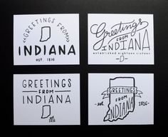Greetings from Indiana Postcard Set - Hand Lettered and Letterpress Printed in Indianapolis Original Handlettering Design #letterpress #postcard #indiana