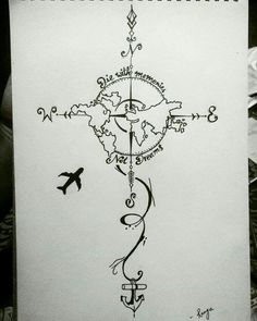 28 Ideas For Travel Drawing Compass Tattoo Designs Cute Drawings, Tattoo Drawings, Body Art Tattoos, Map Tattoos, Tatoos, Globe Tattoos, Tattoo Posters, Tattoos Skull, Tattoo Sketches