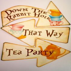 8 Alice in Wonderland Signs - for a Mad Hatters Tea Party Decoration Party Props