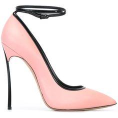 Casadei Ankle Strap Pumps featuring polyvore, women's fashion, shoes, pumps, heels, pink ankle strap pumps, ankle wrap shoes, casadei shoes, casadei and casadei pumps