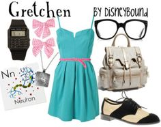 Gretchen, the nerdy girl from the cartoon Recess. I like dress and the backpack.