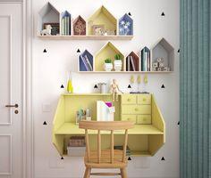 Развивающая детская. Письменный стол и книжные полки. Дизайн детской в сталинской квартире.