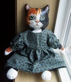 oil painted cloth doll cat on ebay : ) one of a kind