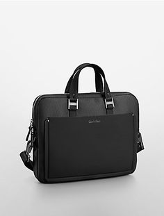 the aden slim commuter briefcase features a mesh pattern and adjustable shoulder strap with dual handles.