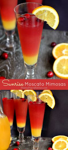 Sunrise Moscato Mimosas are made with a sparkling red moscato and include a splash of cranberry for a festive bubbly brunch! Brunch Drinks, Fruity Cocktails, Winter Cocktails, Summer Drinks, Fun Drinks, Alcoholic Drinks, Mixed Drinks, Red Moscato, Moscato Wine