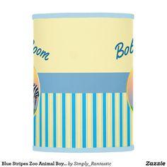 Blue Stripes Zoo Animal Boys Room Lamp Shade